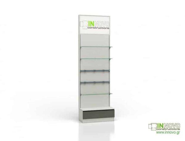 Βιτρίνα φαρμακείου D Standard column single box light inox