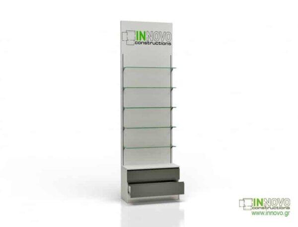 Βιτρίνα φαρμακείου D Standard column double box and graphic