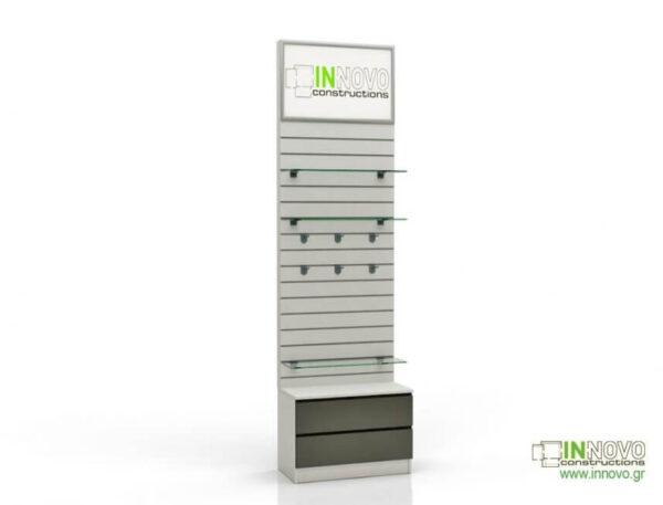 Βιτρίνα φαρμακείου D-Standard-Slat with Lightbox &Double box inox