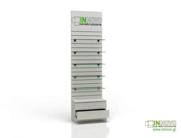 Βιτρίνα φαρμακείου D-Standard-Slat-Sngle box & Graphic