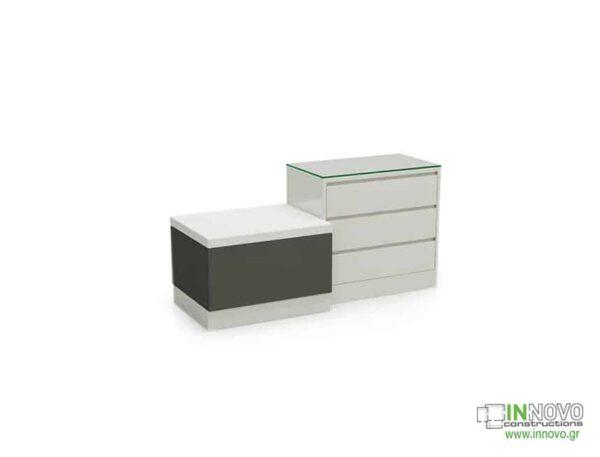 Καθιστικό φαρμακείου S Thiro triple drawer white