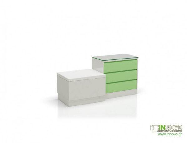 Καθιστικό φαρμακείου S Thiro triple drawer green